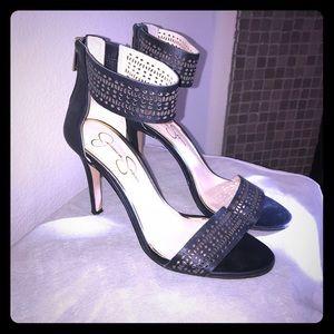 Jessica Simpson black heel sandals w/ ankle strap